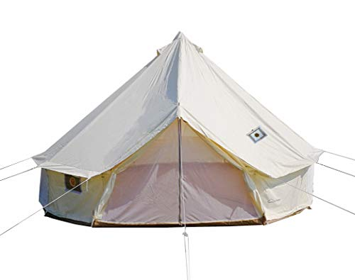 DANCHEL OUTDOOR 4 Season Yurt Bell Tent with Two Stove Jacks Fire Retardant for Family Glamping Winter Camping White 3M/9.8ft