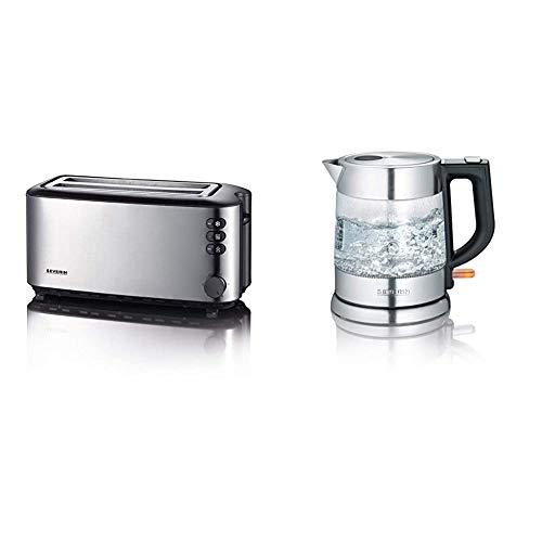 SEVERIN AT 2509 Automatik-Toaster (1.400 W, 2 Langschlitzkammern, für bis zu 4 Brotscheiben) Edelstahl/schwarz & WK 3468 Glas-Wasserkocher (ca. 2.200 W, 1 L) edelstahl/schwarz