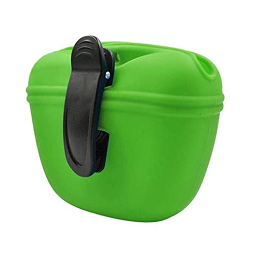 RoyalCare Leckerli-Tasche für Hunde, aus Silikon, tragbar, mit magnetischem Verschluss, Taillenclip (grün)