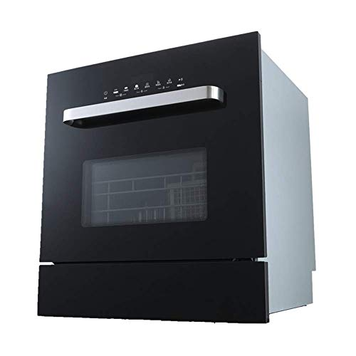 Wghz Geschirrspüler, kompaktes und kleines Design, 2 Körbe, Verbrauch 11850w, Touchscreen, Edelstahl, 6 Programme, Schwarz