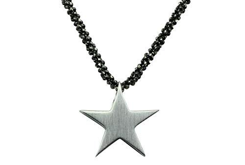 SILBERMOOS Anhänger mit Kette Stern Sternchen klein Star matt glänzend mit Criss-Cross-Kette 45 cm diamantiert geschwärzt 925 Sterling Silber