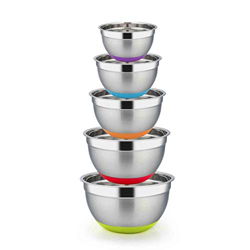 TeamFar Mixing Bowls Set of 5, Extra Large 8/5/3/2.5/1.5Qt, Stainless Steel Salad Bowl Metal Mixing Bowl Set with Silicone Bottom, Healthy & Sturdy, Dishwasher Safe