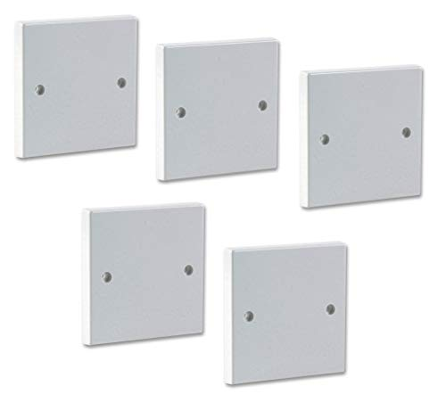 Invero Pack of 5 - Single Gang Electrical Blanking Plate - Standard White Cover Plate for 1 Gang Plug Socket - Square Finish Edge