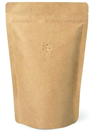 High Barrier Natural Kraft Paper Stand up Zipper Coffee Pouch Bag with One Way Degassing Valve (50, 12 OZ)