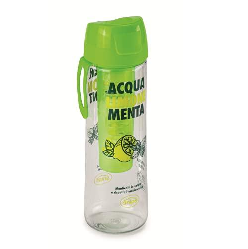 Snips Bottiglia in Tritan 0,75 LT con Infusore Removibile-Trasparente con Decoro Menta e Limone, Verde, 7.1 cm