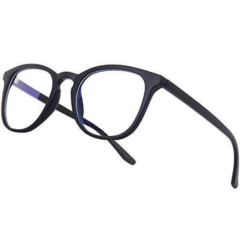Vimbloom Blaulichtfilter Brille Computerbrille PC Gaming Bluelight Filter Uv Blue Light Blocking Glasses Anti Damen Herren Ohne Stärke Entspiegelt VI387 (Schwarz matt)