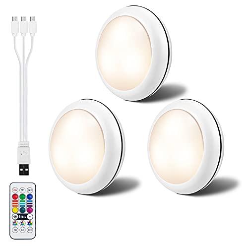 LEDGLE Luces para Armarios, Luz Nocturna LED con Recargable USB, Luz Inalambrica Interior 1000mAh 16 Colores, Luz para Armario Redonda con Control Remoto para Cocina, Gabinete, Dormitorio, Pasillo