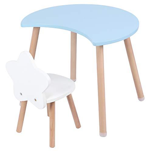 Cocoarm Kindertisch mit Stühlen Kinder Tisch und Kinderstühle Kindersitzgruppe Multifunktionale MDF Tisch Schreibtisch Stuhl Set für Home Schlafzimmer Wohnzimmer Dekoration(Blau)
