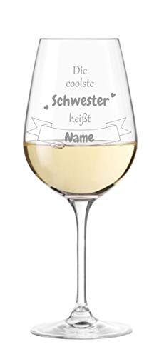 KS Laserdesign Leonardo Weinglas '' die coolste Schwester heißt Wunschname '' - persönliche Gravur, Geschenke, Weinglas Spruch, Geburtstag, Weihnachten