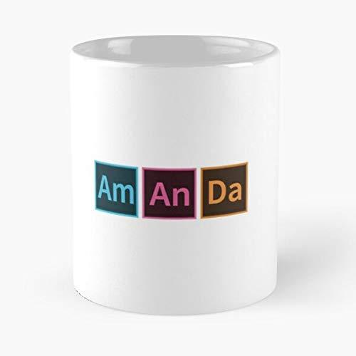 FitinC Hipster Fun Cloud Suite Names Creative Name Amanda Best Mug hält Hand 11oz aus weißer Marmorkeramik