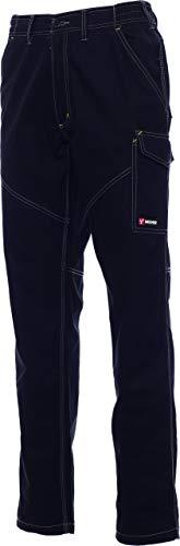 PAYPER Worker Pantalone da Lavoro Unisex Donna Uomo multistagione 100% Cotone Chiusura Zip Tasche Anteriori Laterali Posteriori Porta Metro Bande Reflex Nero (M)