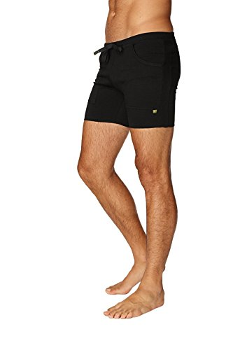 4-rth Mens Transition Yoga Shorts (Medium, Solid Black)