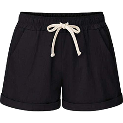 Pantalones Cortos para Mujer Verano Sueltos de Talla Grande Casual con cordón Cintura elástica Pantalones Cortos cómodos Deportes al Aire Libre Pantalones Cortos Casuales L