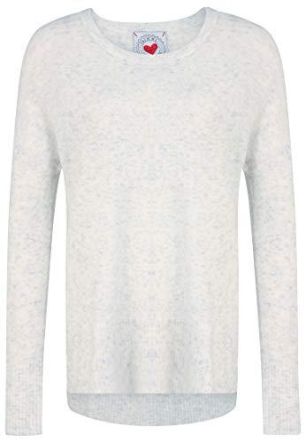 FROGBOX Damen Pullover mit seitlichen Schlitzen und Leichter Transparenz