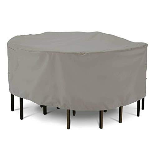 Asiacreate Round Patio Table And Chairs Cover,Waterproof Table & Chair Set Cover,D94'x23',Gray