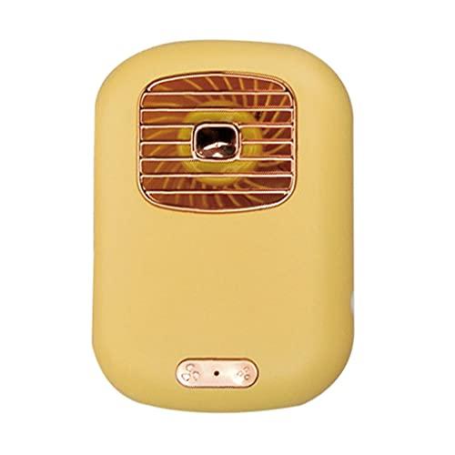 Ventilador de Cuello, usbmini Ventilador de Escritorio, Ventilador Personal Portátil de con Spray, Manos Libres de 3 velocidades,Uso Interior y Exterior (Color : Yellow, Size : 11.8 * 8.3 * 3.6cm)