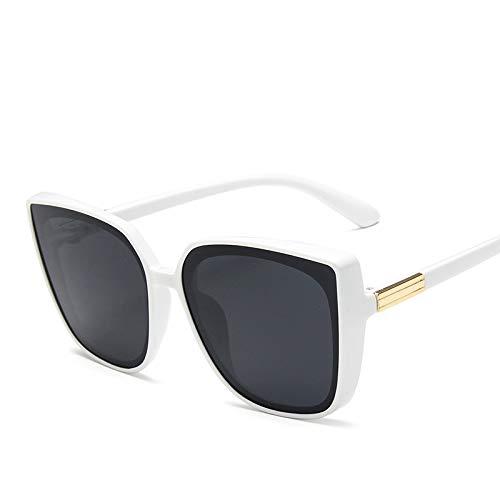 Gafas de Sol Mujer Gafas de Sol Mujeres Retro Gafas de Sol Mujeres Gafas Mujeres/Hombres Gran tamaño (Lenses Color : White Gray)