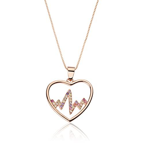 Collar con corazón con latido cardíaco | oro rosa | circonitas | de plata 925 hipoalergénica oro rosa