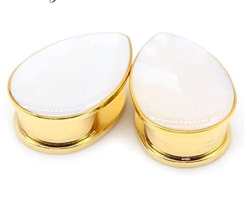 CHENGTAO 2 UNIDS TUNNELES DE OJETOS Tapones Gaugos De Acero Inoxidable Gotas De Agua Ear Ear Expander Pendientes Pendientes Piercing (Main Stone Color : 10mm, Metal Color : EM1093D Gold Color)