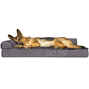 Furhaven Pet Dog Bed – Deluxe Orthopedic Plush Faux Fur and Velvet L Shaped Chaise Lounge Living Room Corner Couch Pet Bed with Removable Cover for Dogs and Cats, Platinum Gray, Jumbo