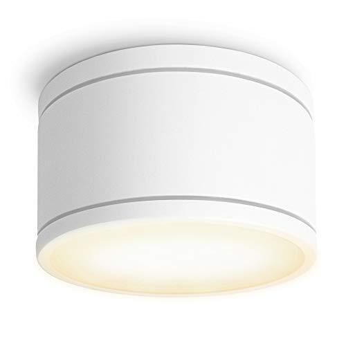 SSC-LUXon CELI-WX Aufbaustrahler flach IP44 für Bad & Außen mit LED GX53 wechselbar 5,5W warmweiß 230V - Aufbauspot weiß rund