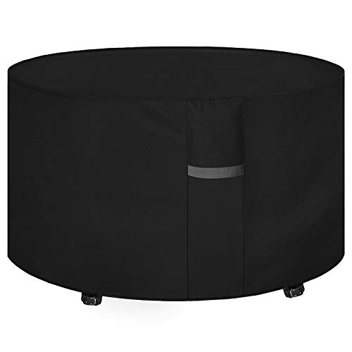 Dokon Garden Table Cover with Air Vents, Waterproof, Windproof, Anti-UV, Heavy Duty Rip Proof 600D Oxford Fabric Large Patio Set Cover, Garden Furniture Cover, Round (Ø230 x 100cm) - Black