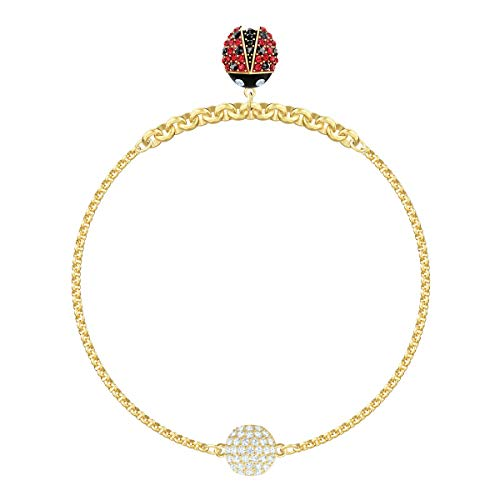 Swarovski Women's Ladybug Strand Bracelet, Brilliant White Crystals with Gold-tone Plated Metal, Magnetic Closure, from the Swarovski Remix Collection