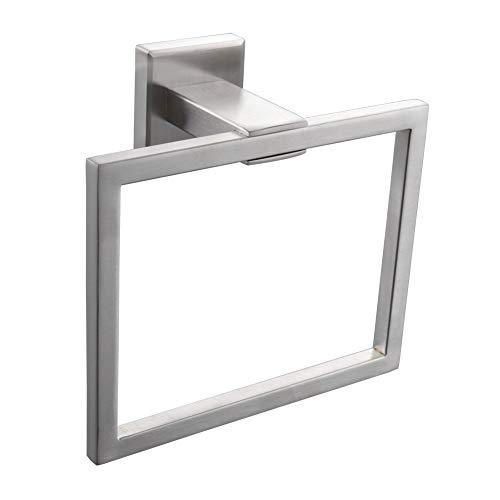 GSDCNV - Toallero de pared con anillas cuadradas para colgar toallas, toallas, anillos, accesorio de baño, acabado cromado pulido, Plateado, Tamaño libre