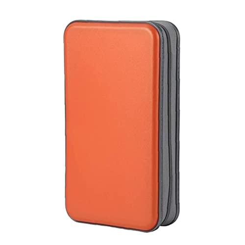 Bolsa De CD CD Holder Caja De La Carpeta De DVD DVD Carpeta del Organizador del Almacenaje De Plástico Duro 80 Capacidad Portátil Naranja