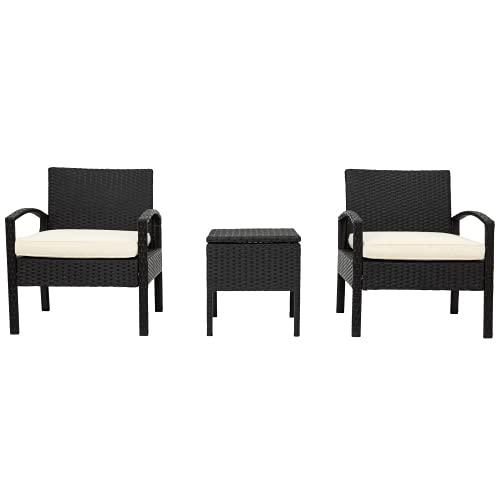 XDOVET Polyrattan Balkonmöbel Set, Gartenmöbel Set,1 Tisch & 2 Sessel,Couchtisch mit Stauraum-Wetterfeste Gartenmöbel Set–für Garten, Balkon & Terrasse