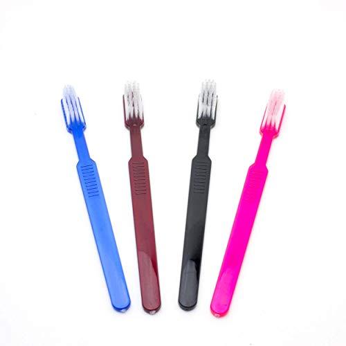 Dr. Bauer´s Cepillos de dientes desechables, cepillos de dientes desechables con pasta de dientes envasados individualmente 100 pack mix (azul-rojo-pink-negro)