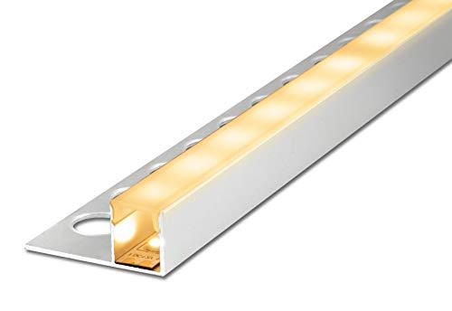 2,5 m FUCHS LED Fliesenschiene 12 mm Quadroprofil oben leuchtend, Aluminium eloxiert Silber rostfrei mit Abdeckung (milchig weiss) zur gleichmäßigen Lichtstreuung