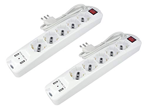 LEDLUX AP8715 Multipresa Ciabatta Elettrica Con 2 Caricatori USB 2,1A Cavo 1,5 Metri 5 Posti 2P+T Universale 10/16A Bipasso Schuko Con Interruttore - 2 KIT