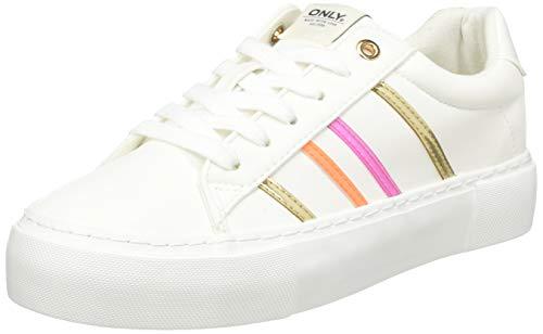 ONLY ONLLIV-2 PU Sneaker, Zapatillas Mujer, White, 36 EU