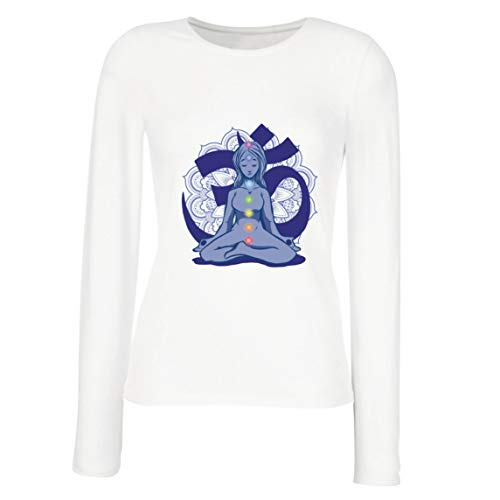 lepni.me Camisetas de Manga Larga para Mujer Yoga Meditación Namasté Asana Mandala Mente Cuerpo Alma (Small Blanco Multicolor)