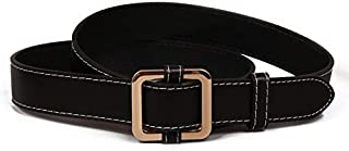 SGJFZD Non-Porous Belt Buckle Gold Buckle Soft Black Brown Soft Belt Student Simple Fashionable Jeans Belt Female (Color : Black)