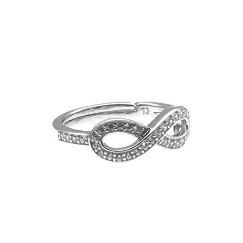 Anillo de Mujer de Acero Inoxidable con Diamantes de imitación Celeste y Oro tamaño se Ajusta a Todos los Open - all0009