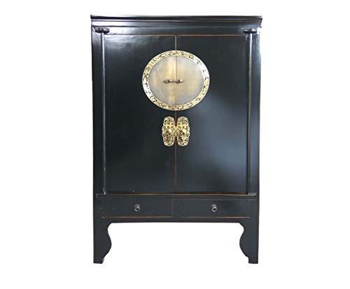 OPIUM OUTLET - Armario chino para boda de estilo asiático, estilo vintage, madera maciza, 2 puertas, 2 cajones, color negro