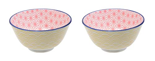 TOKYO DESIGN Star Wave Japan - Cuencos de colores, diámetro de 12 cm, aprox. 300 ml, porcelana asiática, diseño japonés con patrones coloridos (2 unidades), color amarillo y rosa