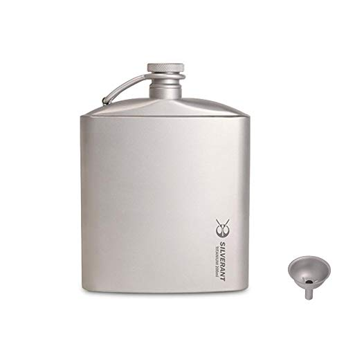 SILVERANT Titanium Ultralight 200ml/6.76 fl oz Hip Flask with Screw Cap Clip and Drawstring Cloth Case (200ML)