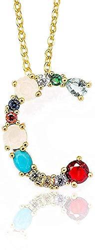 BEISUOSIBYW Co.,Ltd Collar de Moda con Colgante de Oro Inicial, Collar con Letra de circonita, Nombre de Personalidad, joyería, Regalo de joyería para Mujer y Novia