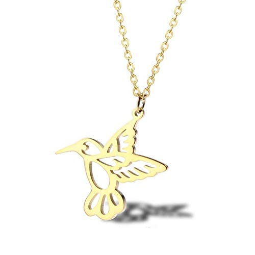 Empty Dove Necklace Stainless Steel Delicate Pendant For Women Bird Necklace Jewelry Gifts-gold-color