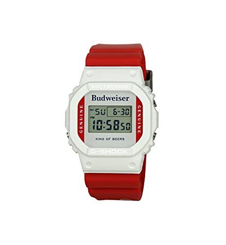 G-SHOCK Reloj de pulsera para hombre, diseño de Budweiser Collab para hombre, color blanco/rojo, talla única