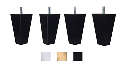 4 piernas de madera maciza de haya 12 cm alta para muebles pies para renovar o elevar muebles sofás sillones butacas armarios mesas somier Natural y negro (negro)