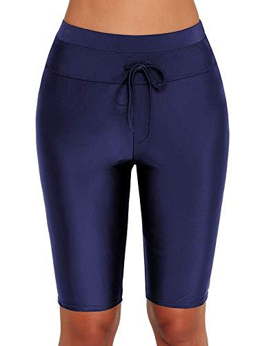 Dona-Brayman Women's Basic High Waisted Boy Short Swim Bikini Tankini Bottom with Liner (Blue, Medium (US 8-10))