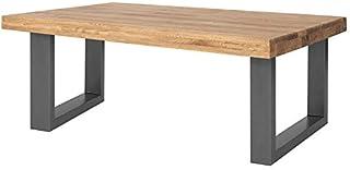 COMIFORT Mesa de Centro - Mueble para Cafe Salon Comedor Oficina Robusto y Moderno de Roble Macizo Color Ahumado Altura 4...