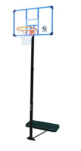 Northern Stone Pro Court Basketballkorb, freistehend, höhenverstellbar, tragbar, mit 111,8 cm, transparentem Polycarbonat, bruchsicher, Rückwandregulierung, Höhe mit Feder und integriertem Slam Rand