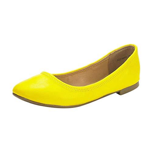 DREAM PAIRS Women's Sole-Happy Yellow Ballerina Walking Flats Shoes - 11 M US