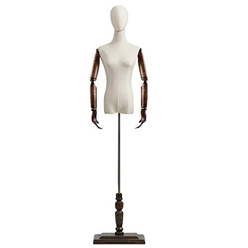 Schneiderpuppe Damenbüste Weibliches Modell Schaufensterpuppe mit Braunem Holzfußständer, Kleiderform für Brautkleid Jackenmantel, Beige Leinenbezug (Color : with Head+arms, Size : S)