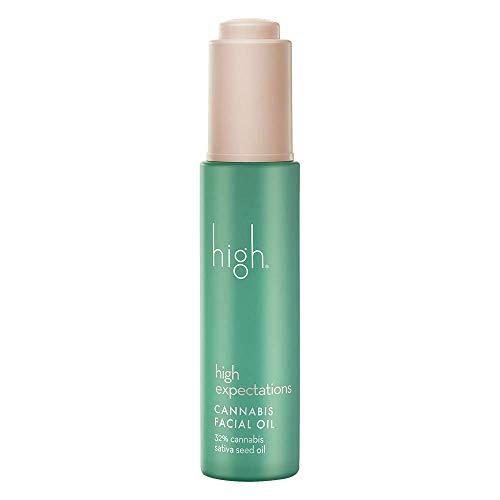 high expectations CANNABIS FACIAL OIL - All Natural Sativa Seed Hemp Oil for Skin - Organic Facial Serum - Hydrates Skin & Reduces Redness (1 fl oz)
